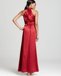 Amsale - Red Dress High Neck with Bow - Lyst