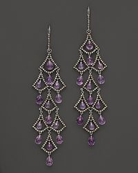Badgley Mischka | Metallic Amethyst And Brown Diamond Drop Earrings | Lyst