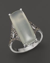 Badgley Mischka | Metallic Grey Moonstone And Brown Diamond Ring | Lyst