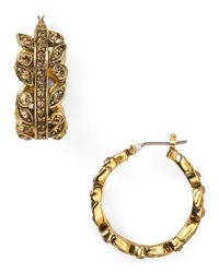 Carolee - Metallic 14k Goldplated Vintage Bordeaux Stone Set Hoop Earrings - Lyst