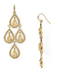 Carolee | Metallic Pave Pear Chandelier Earrings | Lyst