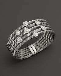 Charriol - 18K White Gold And Stainless Steel Nautical Cable Bangle - Lyst