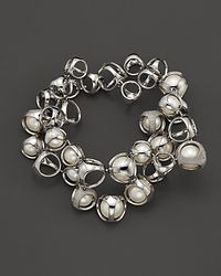 "Di Modolo | Metallic Sterling Silver, Freshwater Pearls And Diamonds ""icon"" Bracelet 