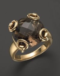Gucci | 18k Yellow Gold Smokey Quartz Horsebit Cocktail Ring | Lyst