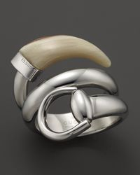 Gucci | Metallic Horsebit Contraire Ring with White Horn | Lyst