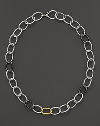 Gurhan - Metallic Pure Silver and 24 Kt Gold Hoopla Chain Link Necklace 18 - Lyst