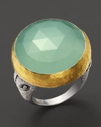 Gurhan | Metallic Sterling Silver 24k Gold and Aqua Chalcedony Noble Ring | Lyst