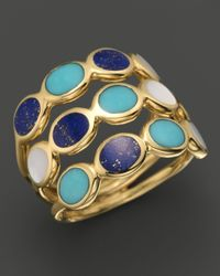 Ippolita - Metallic Ippolita 18k Gold Polished Rock Candy 3row Oval Stone Ring in Viareggio - Lyst