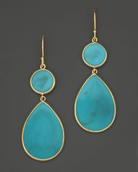 Ippolita | Metallic 18K Gold Rock Candy Teardrop Snowman Earrings In Turquoise | Lyst