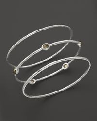 Ippolita | Metallic Sterling Silver Bangle Trio with Pyrite | Lyst