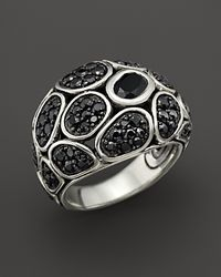 John Hardy - Metallic Kali Pebble Sterling Silver Black Chalcedony and Black Sapphire Lava Small Dome Ring - Lyst