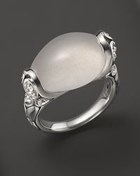 John Hardy | Metallic Kali Silver Batu and Lava Small Oval Ring with Milky Quartz and Rainbow Moonstone | Lyst