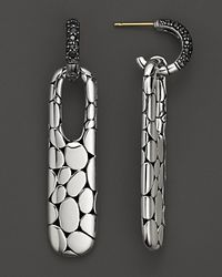 John Hardy - Metallic Long Rectangular Drop Earrings with Black Sapphire - Lyst