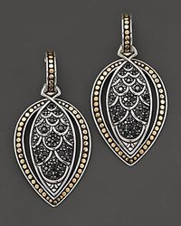"John Hardy | Metallic ""Naga Lava"" Marquise Drop Earrings With Black Sapphire 