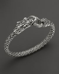 John Hardy | Metallic Naga Silver Dragon Bracelet With Diamond Pave, .45 Ct. T.W. | Lyst