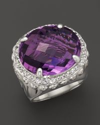 John Hardy | Metallic Batu Bamboo Silver Dome Ring with Amethyst and White Sapphire | Lyst