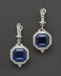 Judith Ripka | Metallic Estate Ascher Cut Stone Earrings with Labcreated Blue Corundum | Lyst