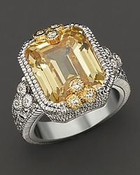Judith Ripka | Metallic Estate Emerald Cut Ring with Canary Crystal and White Sapphires | Lyst