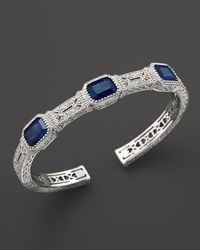 Judith Ripka | Metallic Narrow Estate Cuff with Labcreated Blue Corundum | Lyst