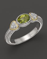 Judith Ripka - Metallic Sterling Silver and 18k Gold Ambrosia Stackable Ring with White Sapphires and Peridot - Lyst