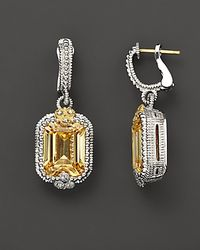 Judith Ripka - Yellow Sterling Silver And 18K Gold Estate Double Drop Earrings With Canary Crystal And White Sapphires - Lyst