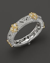Judith Ripka - Metallic Sterling Silver and 18k Gold Estate Narrow Band Ring with White Sapphires - Lyst