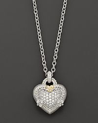 Judith Ripka | Metallic Sterling Silver And White Sapphire Pavé Ambrosia Heart Pendant Necklace, 17"