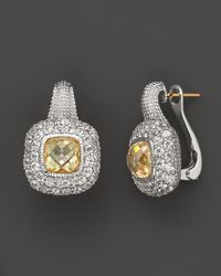 Judith Ripka | Metallic Sterling Silver Cushioncut Isabella Earrings with Canary Crystal and White Sapphires | Lyst