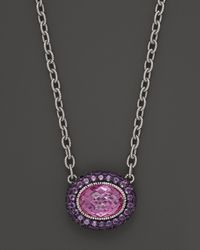 Judith Ripka - Metallic Sterling Silver Oval Isabella Pendant Necklace with Amethyst and Labcreated Pink Corundum 17 - Lyst