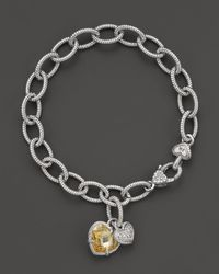 Judith Ripka | Metallic Sterling Silver Pave Heart and Stone Heart Charm Bracelet | Lyst