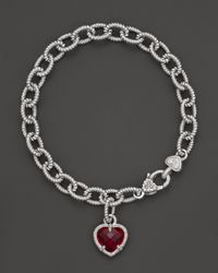 Judith Ripka | Metallic Sterling Silver Single Heart Charm Bracelet with Labcreated Red Corundum | Lyst