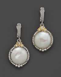 Judith Ripka | Metallic Sterling Silver Melange Coin Pearl Earrings with White Sapphires | Lyst
