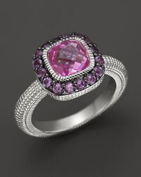 Judith Ripka | Metallic Sterling Silver Cushion-Cut Isabella Ring With Amethyst And Lab-Created Pink Corundum | Lyst