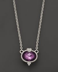 Judith Ripka - Metallic Sterling Silver Oval Stone with Heart Pendant Necklace with Purple Crystal and White Sapphire 17 - Lyst