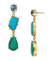 kate spade new york - Blue Crystal Fiesta Linear Earrings - Lyst