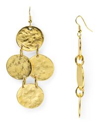 Kenneth Jay Lane - Metallic Hammered Disc Chandelier Earrings - Lyst