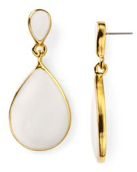 Kenneth Jay Lane - White Enamel Teardrop Earrings - Lyst