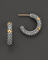 Lagos - Metallic 18k Green Gold And Sterling Silver Caviar™ Beaded Hoop Earrings - Lyst