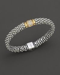 Lagos - Metallic Caviar Oval Rope Bracelet With Diamond Station - Lyst