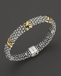 Lagos | Metallic 18k Gold And Sterling Silver Caviar Bracelet | Lyst