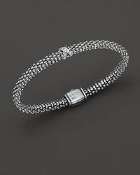 "Lagos | Metallic ""x Collection"" Sterling Silver 6mm Rope Bracelet With Diamonds 