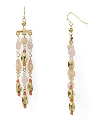 Lauren by Ralph Lauren - Metallic Beaded Chandelier Earrings - Lyst