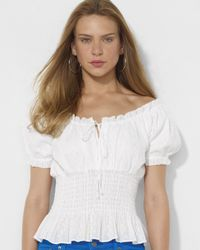 Lauren by Ralph Lauren - White Smocked Eyelet Cotton Top - Lyst
