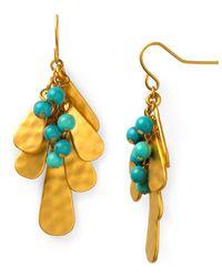 Lauren by Ralph Lauren - Metallic Metal Turquoise Linear Cluster Earrings - Lyst