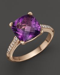 Lisa Nik - Purple 18K Rose Gold Amethyst And Diamond Ring - Lyst