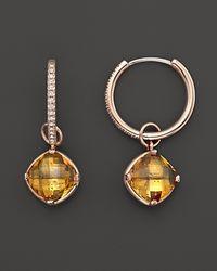 Lisa Nik - Metallic 18K Rose Gold Diamond Hoop Earrings With Citrine Detachable Drops, 0.16 Ct. T.W. - Lyst