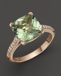 Lisa Nik | Green 18k Rose Gold Prasiolite and Diamond Ring | Lyst