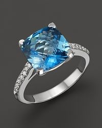 Lisa Nik | Metallic 18k White Gold London Blue Topaz and Diamond Ring | Lyst