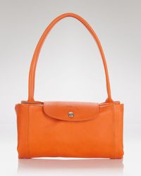 Longchamp | Orange Satchel - Le Pliage Cuir Medium | Lyst