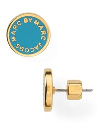 Marc By Marc Jacobs - Metallic Enamel Logo Disc Stud Earrings - Lyst